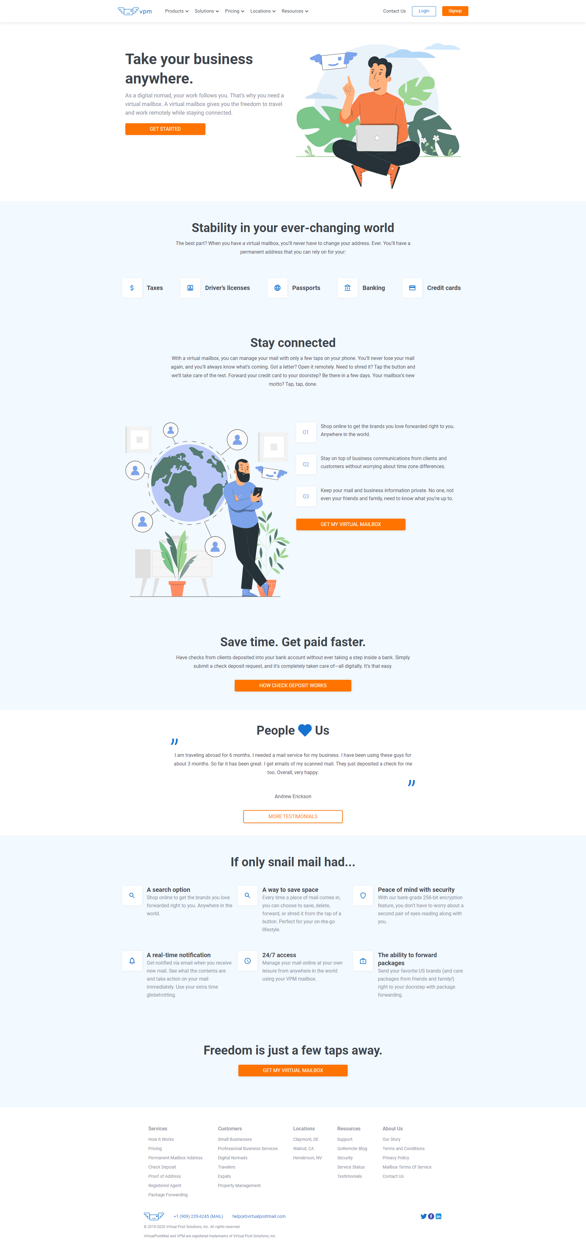 VirtualPostMail Landing Page - I wrote copy that converts for a software company.